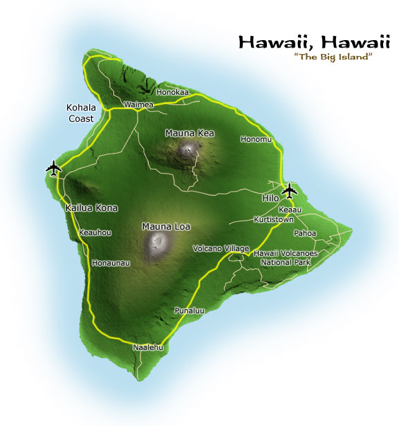 Island of Hawaii map